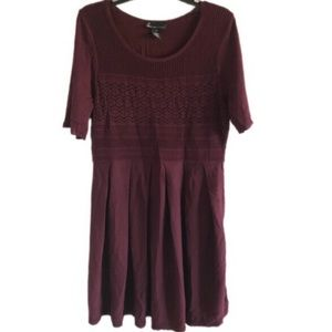 LANE BRYANT maroon mixed media fit & flare dress